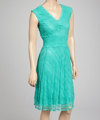 Aqua V-Neck Dress - Women
