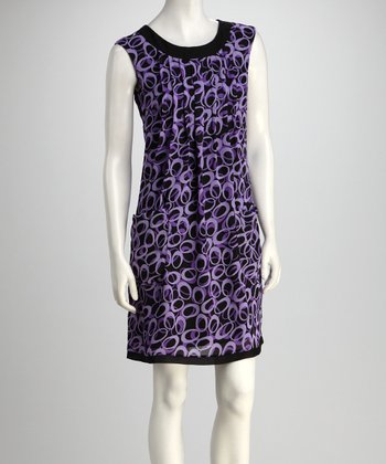 Purple Mod Pleated Dress