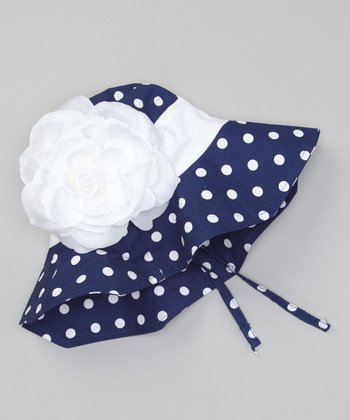 Blue Polka Dot Flower Sunhat