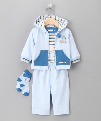 BabyInc. Bundles - Blue Dog Zip-Up Hoodie Set