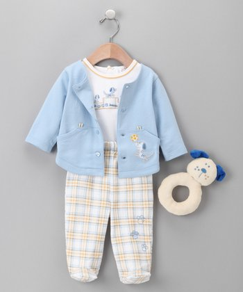 BabyInc. Bundles - Blue Dog Outfit & Rattle Set