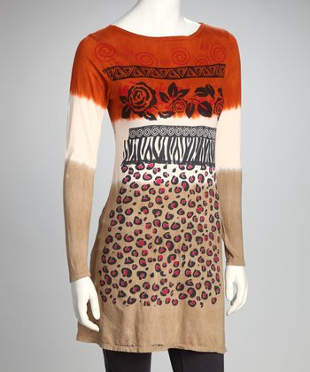 Burnt Orange & Camel African Rose Organic Tunic - Women