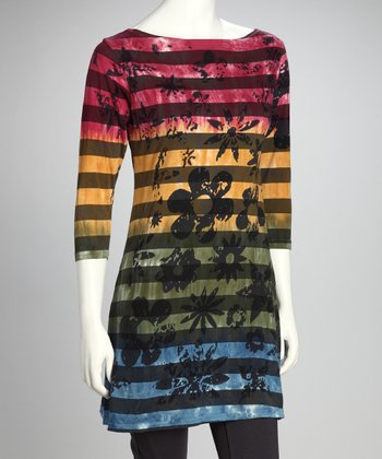 Red & Green Stripe Grunge Flower Organic Tunic - Women