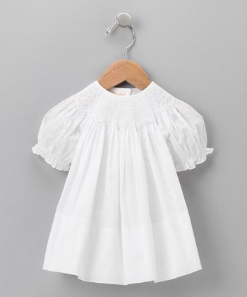 White Lawn Crochet Bishop Dress - Infant