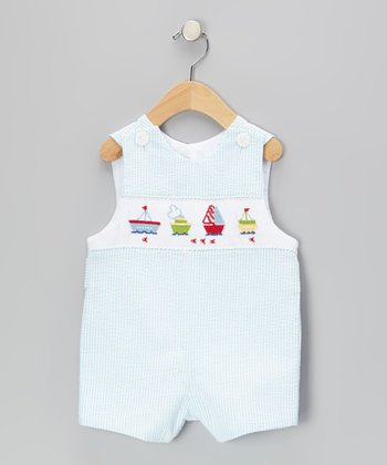 Light Blue Boat Shortalls - Infant & Toddler