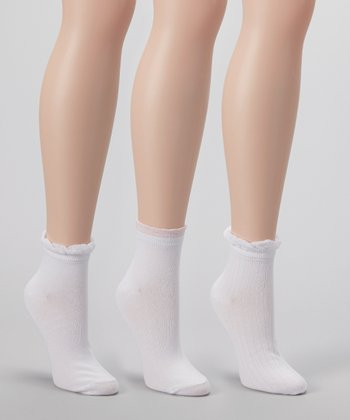White & Blush Ankle Socks Set