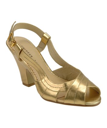 Gold Perfect Peep-Toe Slingback