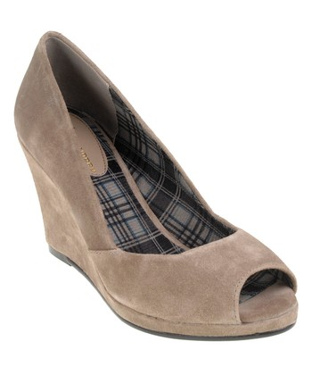 Taupe Suede Shooter Wedge