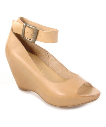 Natural Sneek Peek Ankle-Strap Peep-Toe Wedge