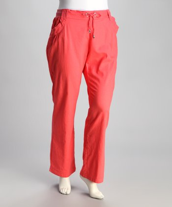 Peach Linen Plus-Size Pants