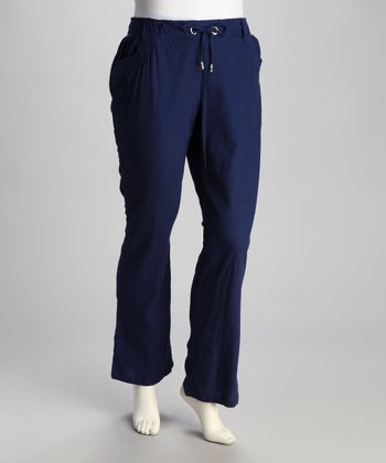 Navy Linen Plus-Size Pants