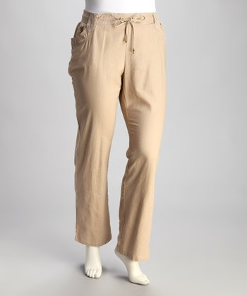 Tan Linen Plus-Size Pants