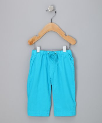 Turquoise Organic Drawstring Pants - Infant