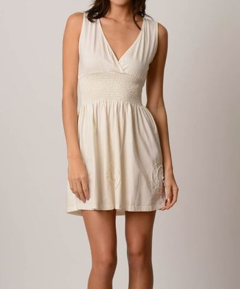 Natural Shirred Surplice Organic Sleeveless Dress