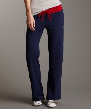 Ink Navy & Red Yoga Pants