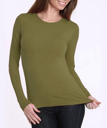 Avocado Green Long-Sleeve Top