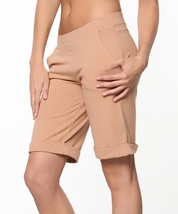 Khaki Buff Page Boy Bermuda Shorts