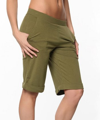 Avocado Green Page Boy Bermuda Shorts