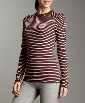 Pink & Brown Long-Sleeve Sweater