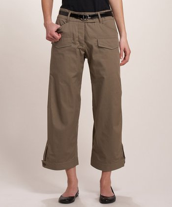 Avocado Brown Cropped Cargo Pants