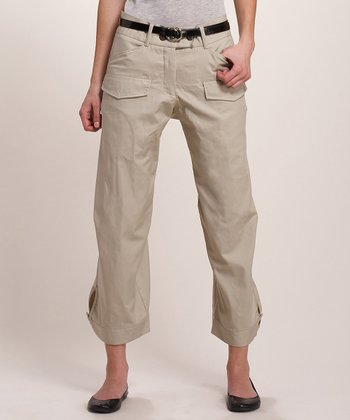 Khaki Tan Cropped Cargo Pants