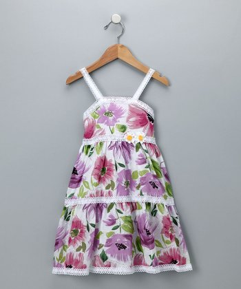 Baby Nay Purple Floral Tiered Dress - Girls