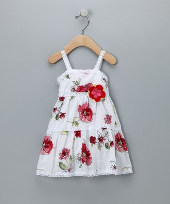 Baby Nay White Floral Tiered Dress - Infant