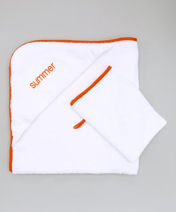 Orange Personalized Hooded Towel & Hand Mitt