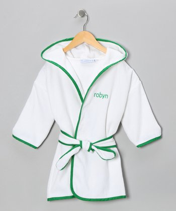 White & Kelly Green Personalized Robe - Toddler & Kids