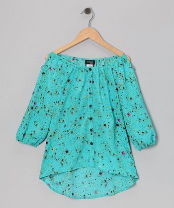 Aqua Floral Cutout Top - Girls