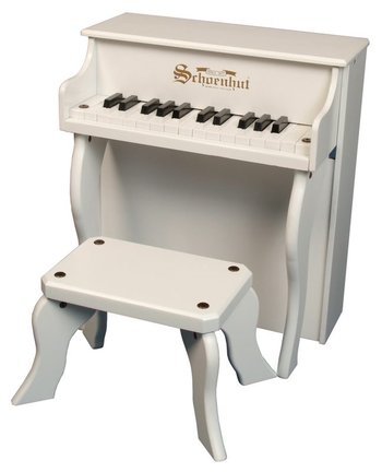 White 25-Key Elite Spinet Upright Piano & Bench