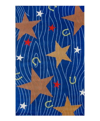 Blue & Gold Cowboy Stars Wool Rug