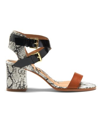 Luggage & Black Snakeskin Carmanita Sandal