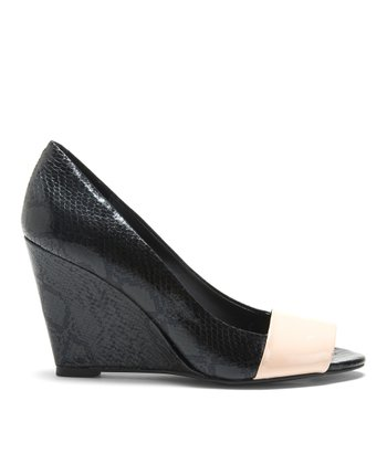 Black & Blush Snakeskin Fresh Peep-Toe Wedge