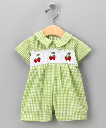 Lime Strawberry Patch Romper - Infant