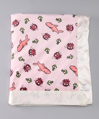 Pink Sharkie Velour Super Luxe Security Blanket