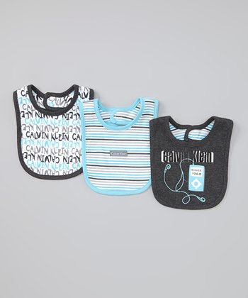 Black & Turquoise Branded Bib Set