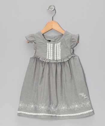 Gray Chambray Angel-Sleeve Dress - Infant & Toddler