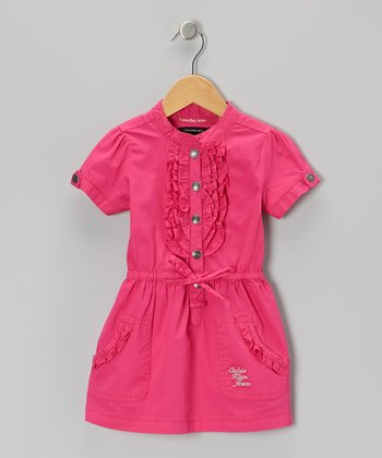 Dark Pink Ruffle Placket Dress - Infant, Toddler & Girls