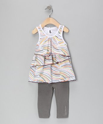 White Tiered Ruffle Tunic & Gray Leggings - Infant