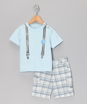 Blue Suspender Tee & Plaid Shorts - Infant