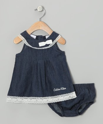 Navy & White Dress & Diaper Cover
