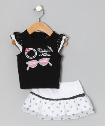 Black & White Sunglasses Top & Skirt
