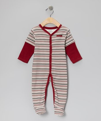 Red Stripe Layered Footie