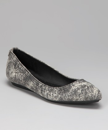 Black & Off-White Suede Ciela Flat