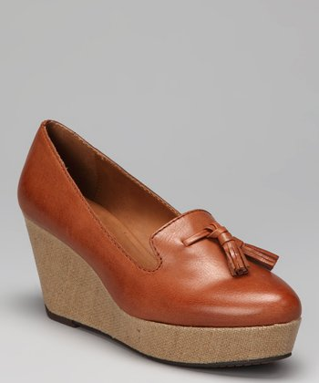 Cognac Shainy Wedge Loafer