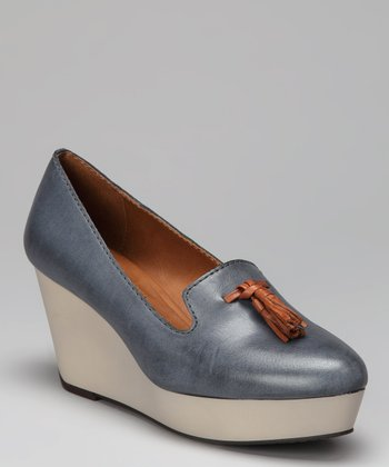 Dark Blue Shainy Wedge Loafer