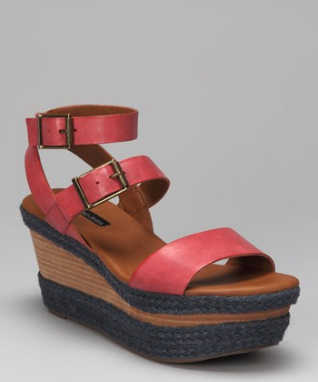 Red Leather Cailey Wedge