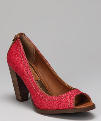 Red Raffia Drina Peep-Toe Pump