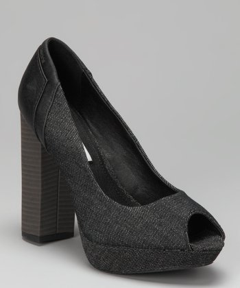 Black Denim Vergie Open-Toe Pump